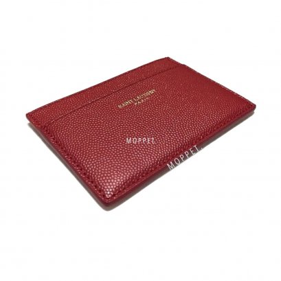 New Saint Laurent Card Holder in Red Caviar GHW