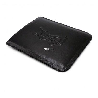 New YSL Logo IPAD Case in Black Leather