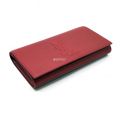 New YSL Logo Clutch in Red Leather GHW