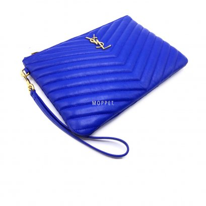 Like New YSL Logo Pouch in Royal Blue Leather GHW