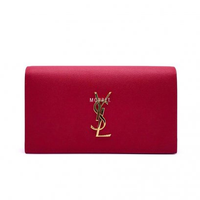 New YSL Monogram Clutch in Red Caviar Leather GHW