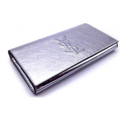 New YSL Logo Clutch in Silver Leather GHW