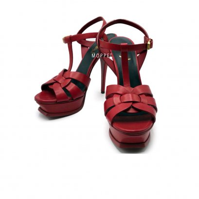 "New YSL TRibute 5"" Size 39.5"" in Red Leather GHW"