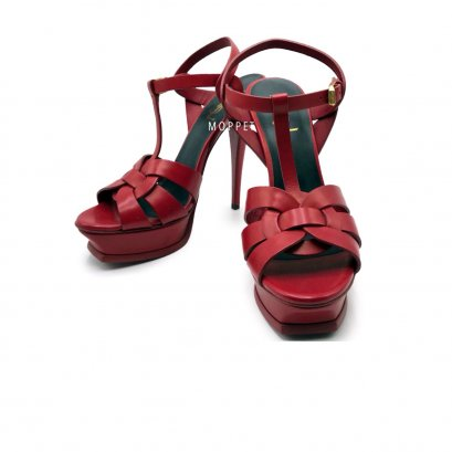 "New YSL TRibute 5"" Size 39"" in Red Leather GHW"
