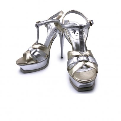 "New YSL TRibute 5"" Size 39"" in Silver/Gold Leather RHW"