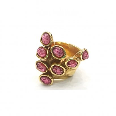 "New YSL Arty Ring 7"" in Pink Stone GHW"