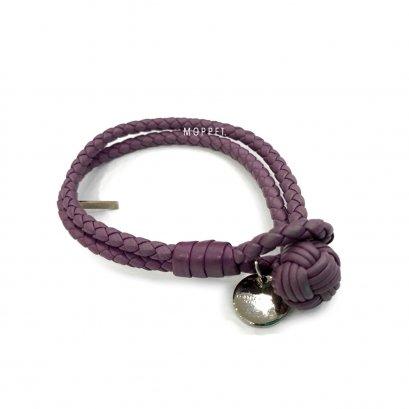 """New Bottega Bracelet M"""" in Purple Leather SHW"""