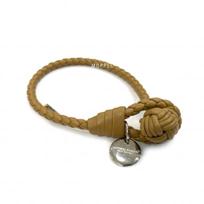 "New Bottega Bracelet M"" in Beige Leather SHW"