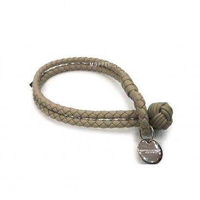 """New Bottega Bracelet M"""" in Etoupe Leather SHW"""