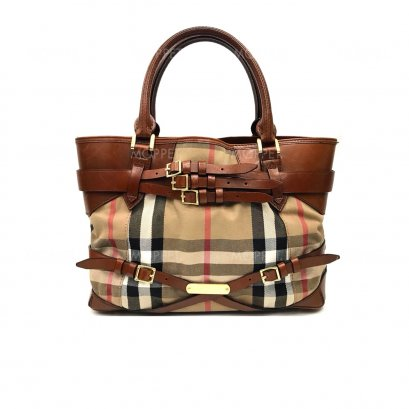 Used Burberry Tote Bag in Haymarket Fabric Brown GHW