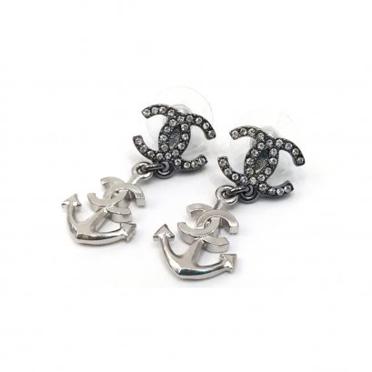 New Chanel CC Earrings Anchor  in Crystal SHW