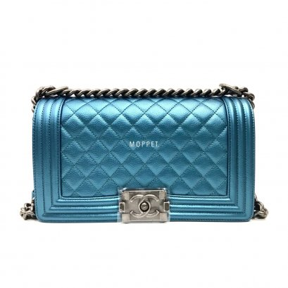 "New Chanel Boy 10"" in Blue Pearl Caviar RHW"