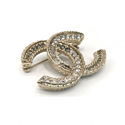 Used Chanel CC Brooch 4.5 CM in Crystals GHW