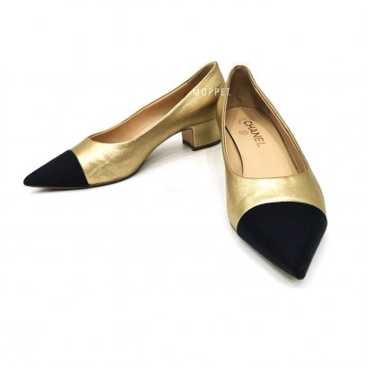 "Used Chanel Low Heel 39.5"" in Gold/Black"