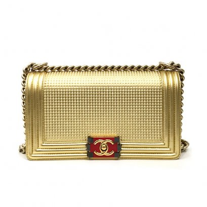 """Used Chanel Boy Limited 10"""" in Gold Cube GHW"""