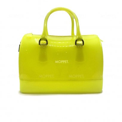Used Furla Candy Handbag in Yellow Jelly GHW
