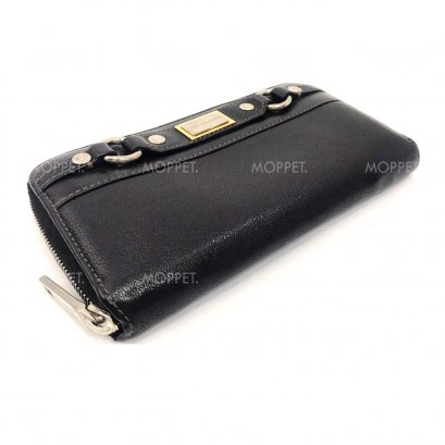 Used Dolce&Gabbana Zippy Long Wallet in Black Leather G/SHW