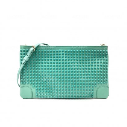 Used Christian Louboutin Clutch Bag in Turquoise Leather LGHW