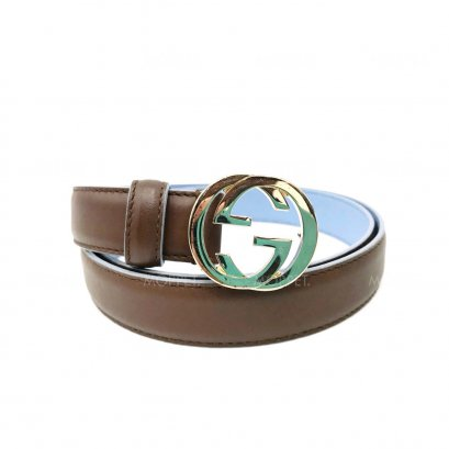 "Unused Gucci GG Belt 90"" in Brown/Blue Leather GHW"