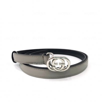 "New Gucci GG Belt 15 mm 85"" in Grey/Black Leather SHW"