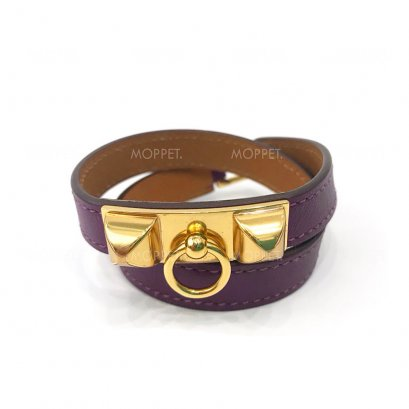 Used Hermes Rivals Double Tour Bracelet S in Purple Swift GHW