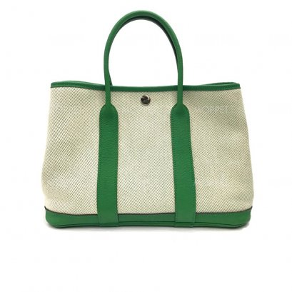"""Used Hermes Garden Party 30"""" in Bamboo Green PHW"""