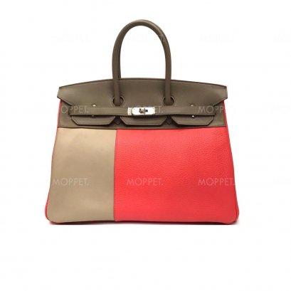 """Used Hermes Birkin 35"""" in Tri Colors PHW"""