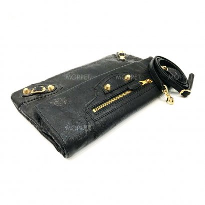 Used Balenciaga Envelope Clutch With Strap in Black Giant GHW