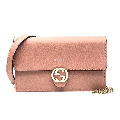 New Gucci GG Leather WOC in Pink LGHW