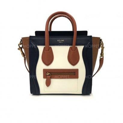 Like New Celine Nano Luggage in Tri Colors GHW