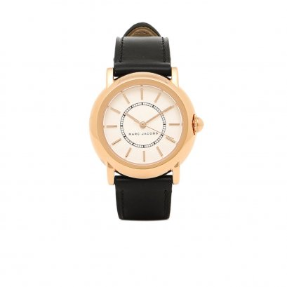 New Marc By Marc Jacobs MJ1450 in White Dial Black Leather GHW