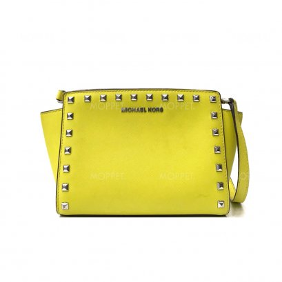 New Michael Kors Small Selma Bag in Yellow Leather SHW