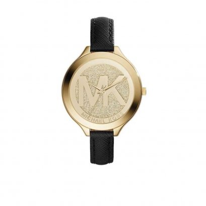 New Michael Kors Watch MK2392 in Black Leather GHW