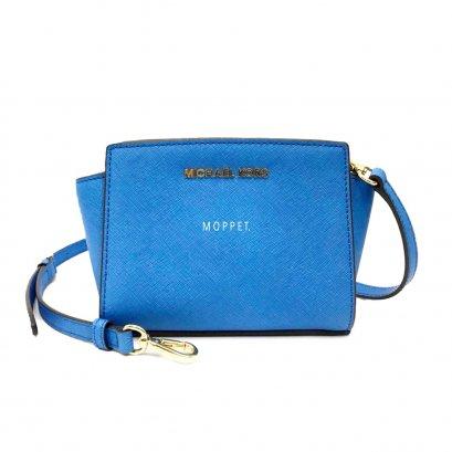 New Michael Kors Mini Selma Bag in Blue Leather GHW