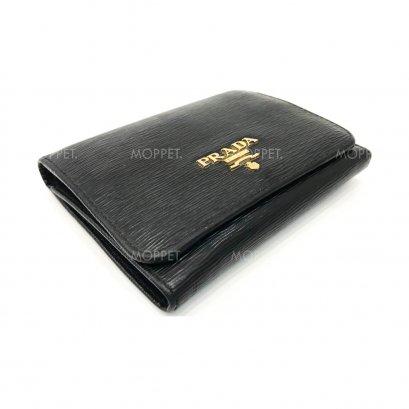 Used Prada Saffiano Tri Fold Wallet in Nero GHW