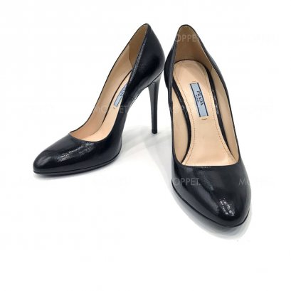 "Like New Prada High Heels 36.5"" in Nero Saffiano Patent GHW"