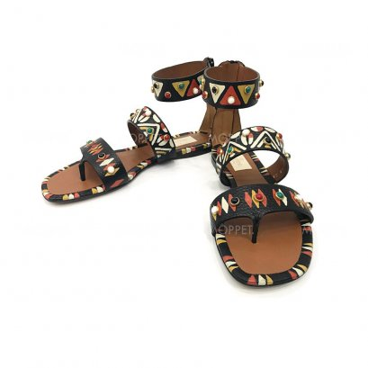 """New Valentino Gladiator Sandals 37"""" in Black/Native Painted"""