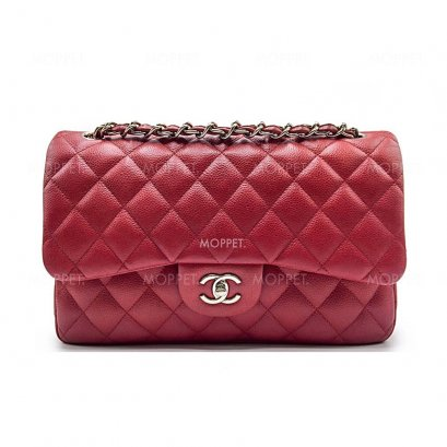 Used Chanel Classic Jumbo in Red Caviar SHW
