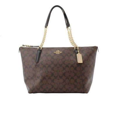 New Coach Ava Chain Tote in Brown/Black GHW