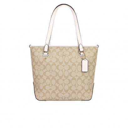 New Coach Zip Top Tote in Signature/Chalk GHW