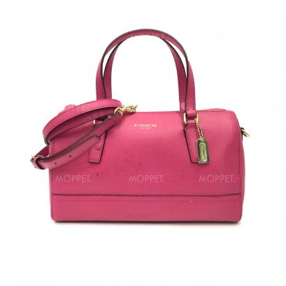 Used Coach Mini Boston Bag in Pink Leather LGHW