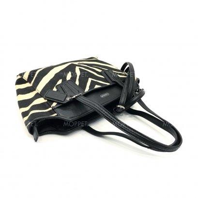 Unused Coach Taylor Zebra HandBag in Black/White SHW