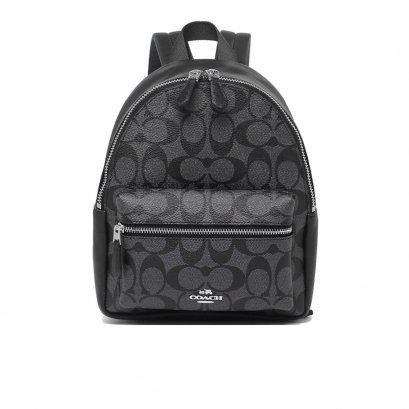 New Coach Charlie Mini Backpack in Smoke/Black SHW