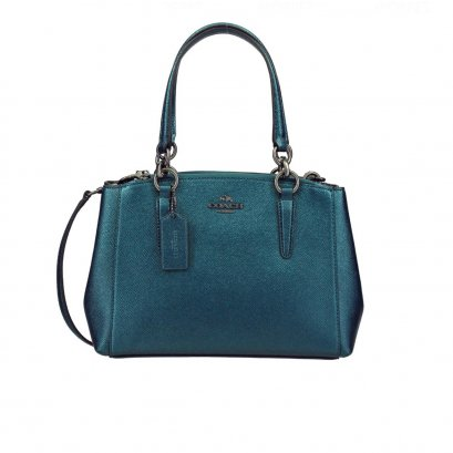 New Coach Mini Christie Handbag in Platinum Dark Teal RHW