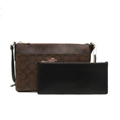 New Coach CrossbodyBag in Brown/Black Leather GHW
