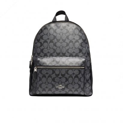 New Coach Charlie Backpack in Chacoal/Black SHW