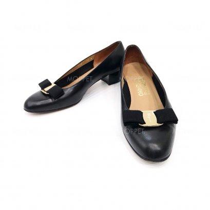 "Used Ferragamo Heels 7.5"" in Black Leather GHW"