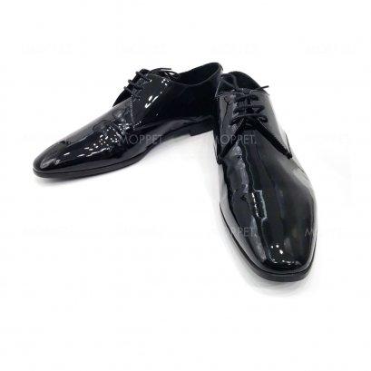 "Used Giorgio Armani Shoes 9"" in Black Patent Leather"