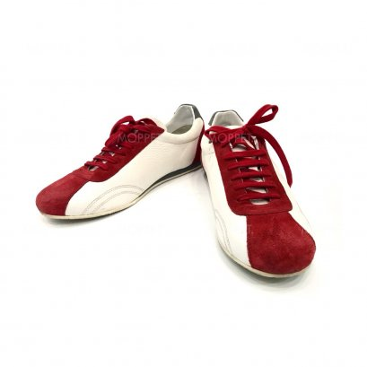 """Used Emporio Armani Sneakers 6"""" in White/Red Leather"""