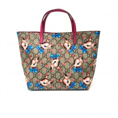 New Gucci Kid Tote in Signature/Deer Canvas